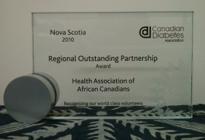 HAAC received the regional outstanding partnership award from the Canadian Diabetes Association in July 2010