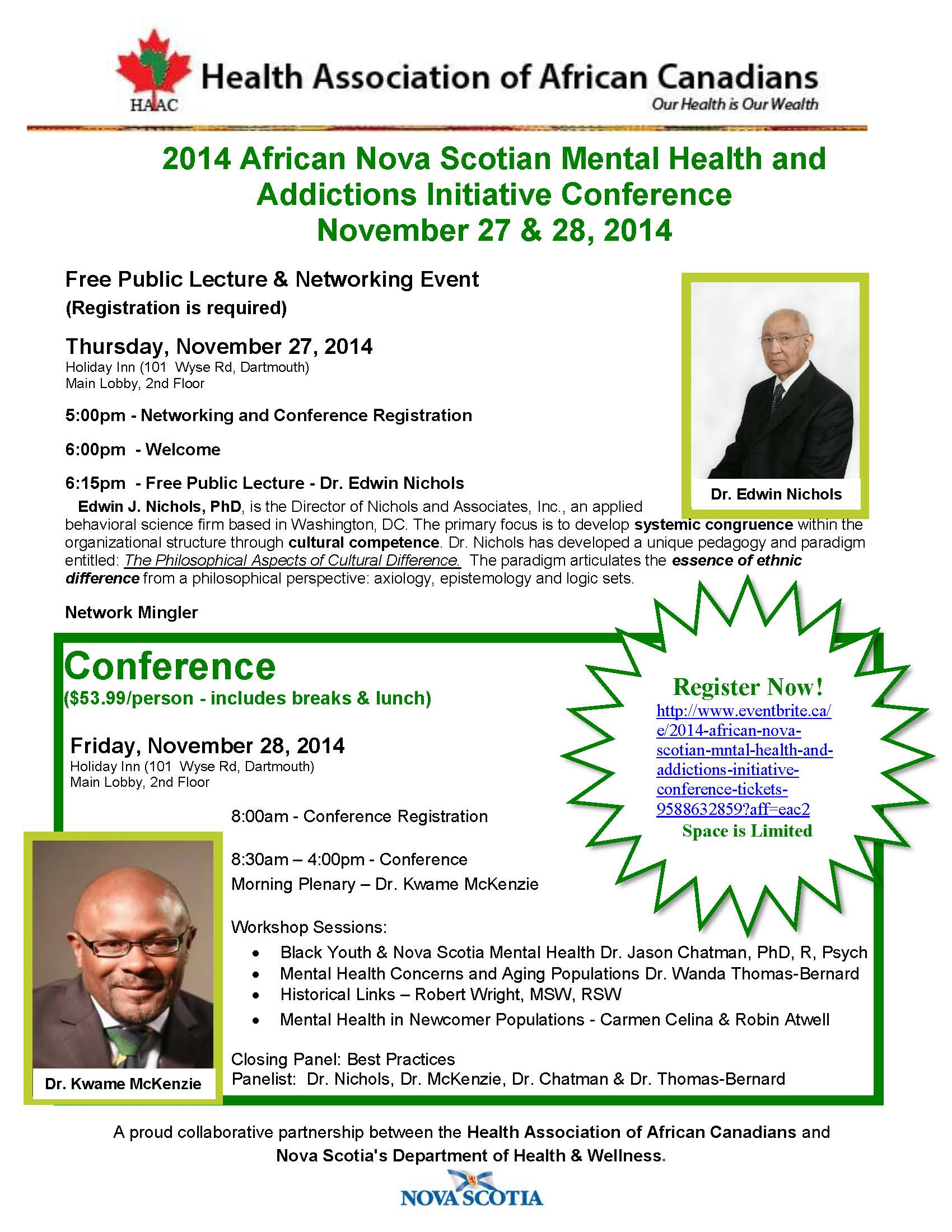 HAAC Conference flyer with speakers